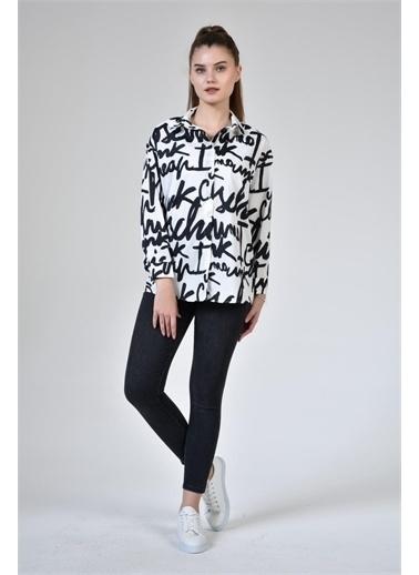 Rodi Jeans Kadın Yazı Baskılı Gömlek DS21YB033914 Beyaz